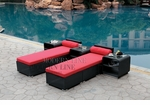 All-Weather Collection Water-Resistant Black Rattan Set of Two Loungers and Three Coffee Tables  with Red Pillows and Cushions