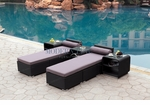 All-Weather Collection Water-Resistant Set of Two Loungers and Three Coffee Tables with Grey Pillow and Cushion