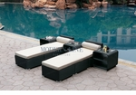 All-Weather Collection Water-Resistant Set of Two Loungers and Three Coffee Tables  with White Pillow and Cushion