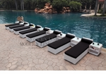 All-Weather Collection Water-Resistant White Rattan Set of Eight Loungers and Nine Coffee Tables  with Black Pillows and Cushions
