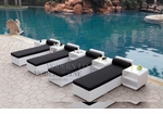 All-Weather Collection Water-Resistant White Rattan Set of Four Loungers and Five Coffee Tables with Black Pillows and Cushions