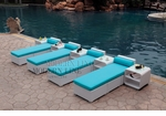 All-Weather Collection Water-Resistant White Rattan Set of Four Loungers and Five Coffee Tables with Blue Pillows and Cushions