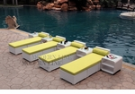 All-Weather Collection Water-Resistant White Rattan Set of Four Loungers and Five Coffee Tables with Green Pillows and Cushions