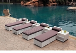 All-Weather Collection Water-Resistant White Rattan Set of Four Loungers and Five Coffee Tables with Grey Pillows and Cushions