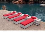 All-Weather Collection Water-Resistant White Rattan Set of Four Loungers and Five Coffee Tables with Red Pillows and Cushions