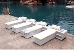All-Weather Collection Water-Resistant White Rattan Set of Four Loungers and Five Coffee Tables with White Pillows and Cushions