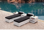 All-Weather Collection Water-Resistant White Rattan Set of Two Loungers and Three Coffee Tables  with Black Pillows and Cushions
