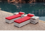 All-Weather Collection Water-Resistant White Rattan Set of Two Loungers and Three Coffee Tables  with Red Pillows and Cushions