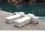 All-Weather Collection Water-Resistant White Rattan Set of Two Loungers and Three Coffee Tables  with White Pillows and Cushions