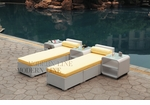 All-Weather Collection Water-Resistant White Rattan Set of Two Loungers and Three Coffee Tables  with Yellow Pillows and Cushions