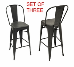 Gunmetal Finish Aluminium Frame Modern Bar Stools (Set of 3)