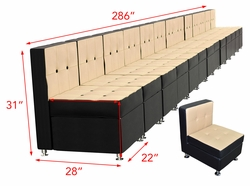 Liquidation! Black and Cappuccino Long Seating Arrangements (286 Inches)