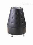 Black Leather - Button Tufted - Cone Shaped Tower
