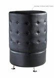 Black Leather - Button Tufted - Round Tower