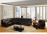 Black Leather Sectional Sofa with a Matching Chair and Optional Coffee Table