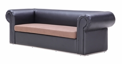 Liquidation! Black Leather with Tan Seating Fabric Modern Sofa (PICK UP ONLY)