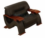 Black Leather Wood Arm Contemporary Chair