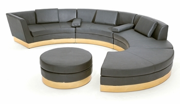 Black Modular Sectional with Custom Kick Panel - Commercial Grade