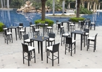 Wicker - All-Weather Collection - 6 Bar Tables with 24 Bar Stools