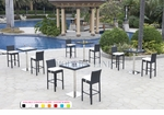 Wicker - All-Weather Collection - Four Bar Tables with Eight Bar Stools