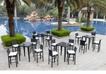 Wicker - All-Weather Collection - Four Bar Tables with Sixteen Bar Stools