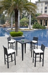 Wicker - All-Weather Collection - One Bar Table with Four Bar Stools