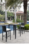 Wicker - All-Weather Collection - One Bar Table with Two Bar Stools