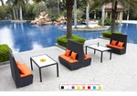 Black Wicker - UV Protected & Water Resistant Seating - Set of Four Tall Benches and Two Dining Tables