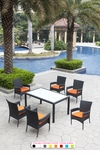 Black Wicker - All-Weather Collection - Set of One Dining Table with Six Dining Chairs