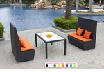 Black Wicker - UV Protected & Water Resistant Seating - Set of Two Tall Benches and a Dining Table