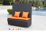 Black Wicker - UV Protected & Water Resistant Seating - Tall Bench