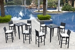 Wicker - All-Weather Collection - Two Bar Tables with Eight Bar Stools