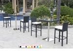 Wicker - All-Weather Collection - Two Bar Tables with Four Bar Stools