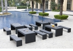 Black Wicker - All-Weather Collection- Set of Four Dining Tables and Eight Benches