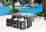 Black Wicker - All-Weather Collection- Set of One Bar Table and Six Bar Chairs