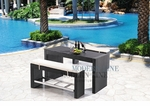 Black Wicker - All-Weather Collection- Set of One Bar Table and Two Bar Benches