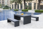 Black Wicker - All-Weather Collection- Set of One Dining Table and Two Benches