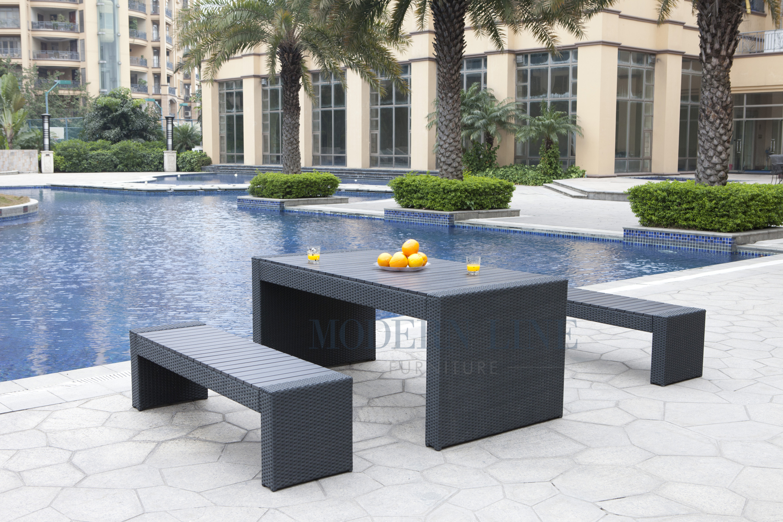 Modern Line Furniture   Commercial Furniture   Custom Made Furniture |  Black Wicker   All Weather Collection  Set Of One Dining Table And Two  Benches