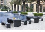 Black Wicker - All-Weather Collection- Set of Two Dining Tables and Four Benches