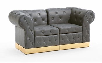 Button Tufted Black with Custom Kick Panel - Loveseat