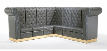 Button Tufted Black with Custom Kick Panel - Arrangement G4