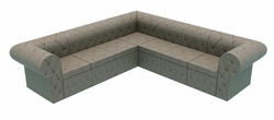 Button Tufted Granite Upholstery Modular Sofa