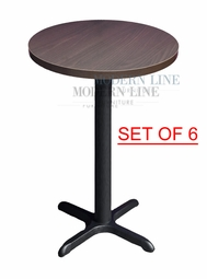 Clearance! Round Walnut Melamine Bar Table / Black Iron Cast Base (Commercial Grade) (SET OF SIX TABLES)