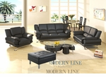 Complete Black Leather Set: Sofa, Loveseat, Chair, Dining Table with 4 Chairs, Coffee Table and Ottoman