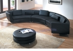 Contemporary Black Curved Long Sectional Sofa with an Ottoman