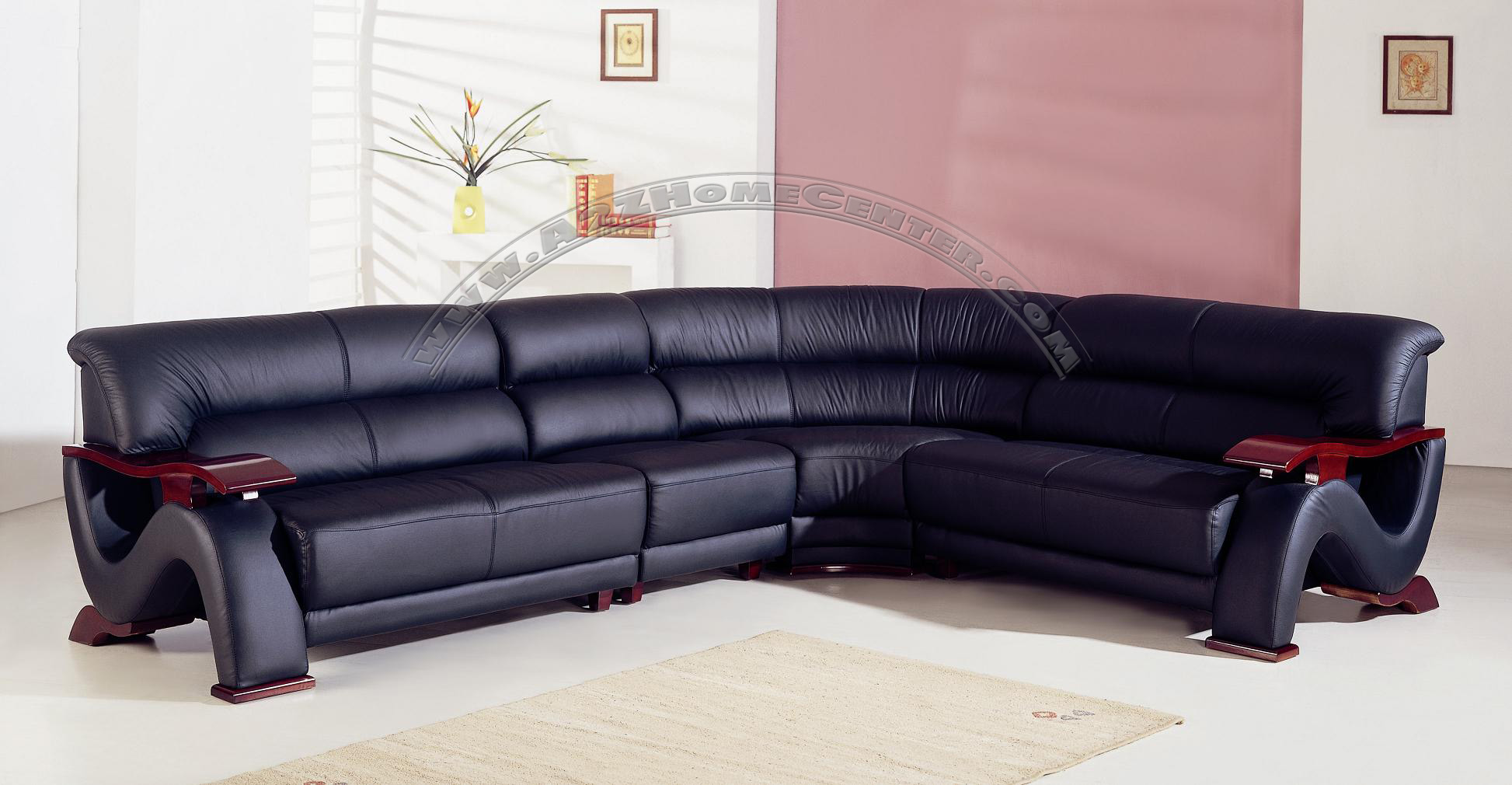 Contemporary black leather exclusive sectional sofa mjob for Exclusive sofa