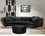 Contemporary Black  Long Curved Sofa with a Multifunctional Glass Top Coffee Table