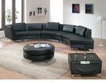 Contemporary Black Open-Chaise Sectional Sofa an Ottoman and Coffee Table