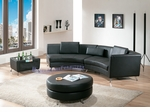 Contemporary Black Right Chaise.w/ Extension, Ottoman and Coffee Table
