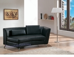 Contemporary Black  Right-Sided Curved Chaise